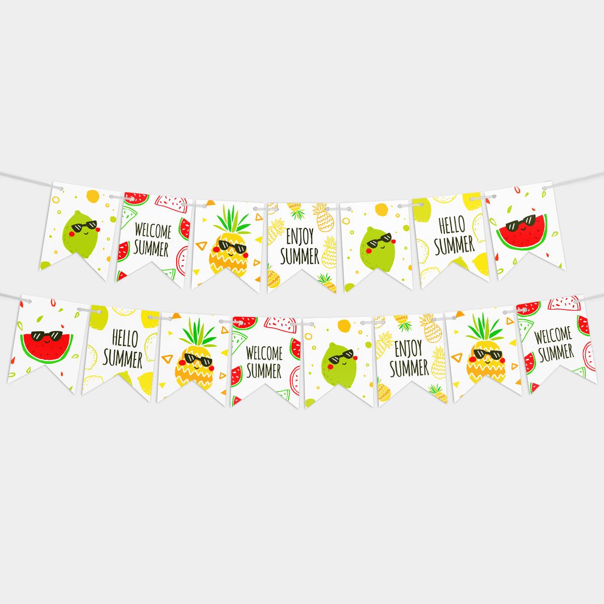 Праздничная гирлянда на день рождения Лето 14 флажков