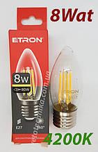 Лампа филамент свеча 8 ват Е27 4200К