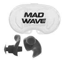 Силіконові беруші для вух для плавання 2 шт в пластиковому футлярі Mad Wave ERGO Чорний (СПО M071201)