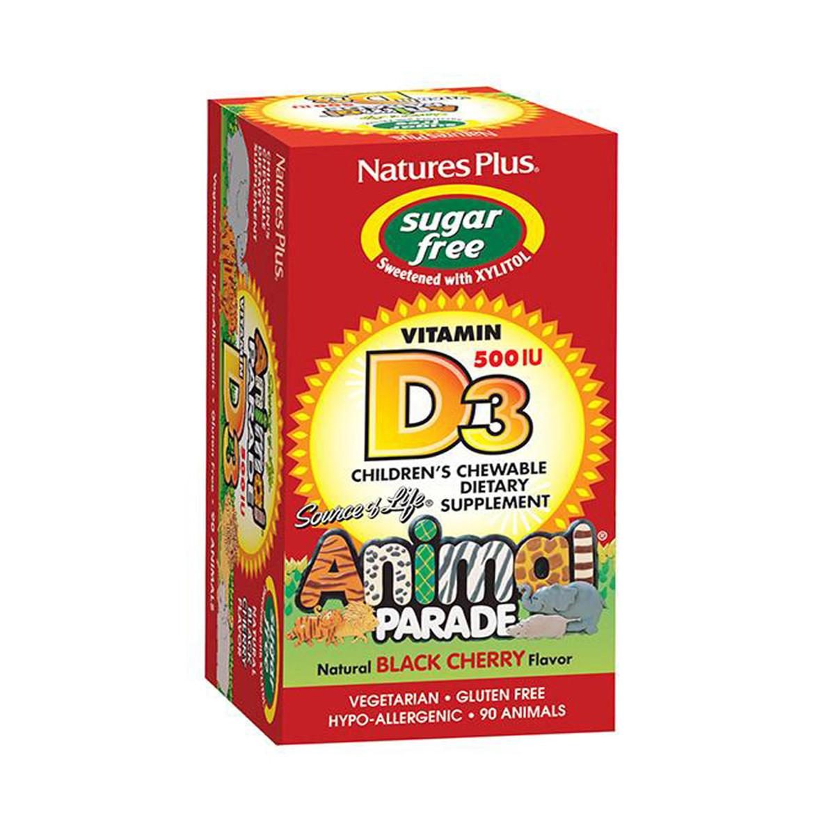 Витамин D3 для Детей без Сахара, Вкус Черной Вишни, Animal Parade, Natures Plus, 90 жевательных таблеток