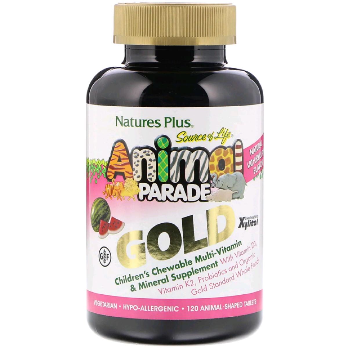 Мультивитамины для Детей, Вкус Арбуза, Animal Parade Gold, Natures Plus, 120 жевательных таблеток