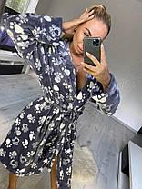 Женский серый очень теплый халат с капюшоном и поясом, фото 2