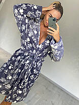 Женский серый очень теплый халат с капюшоном и поясом, фото 3