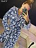 Женский серый очень теплый халат с капюшоном и поясом, фото 6