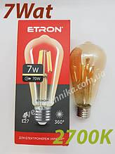 Лампа Эдисона филамент  ST64 7w E27 2700K бронза