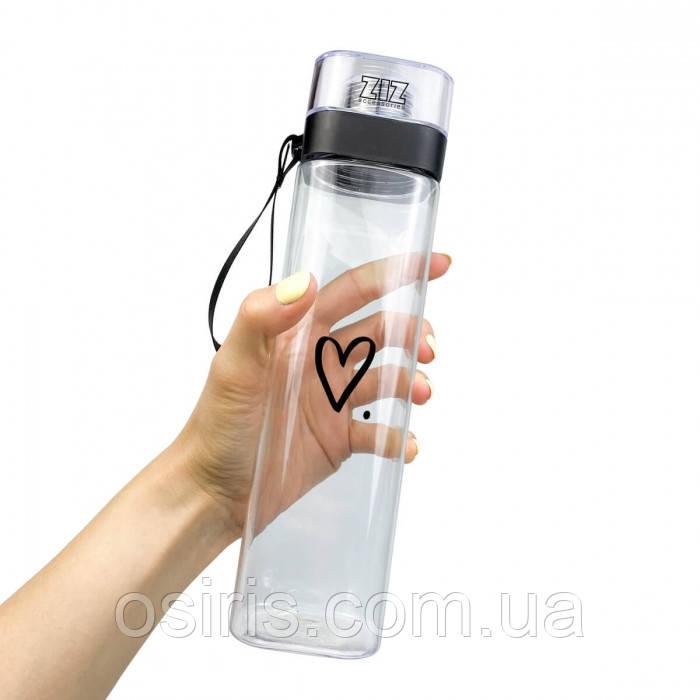 Пляшка для води ударостійка прозора 700 мл Сердечко, матеріал Tritan