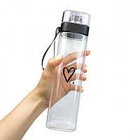 Пляшка для води ударостійка прозора 700 мл Сердечко, матеріал Tritan, фото 1