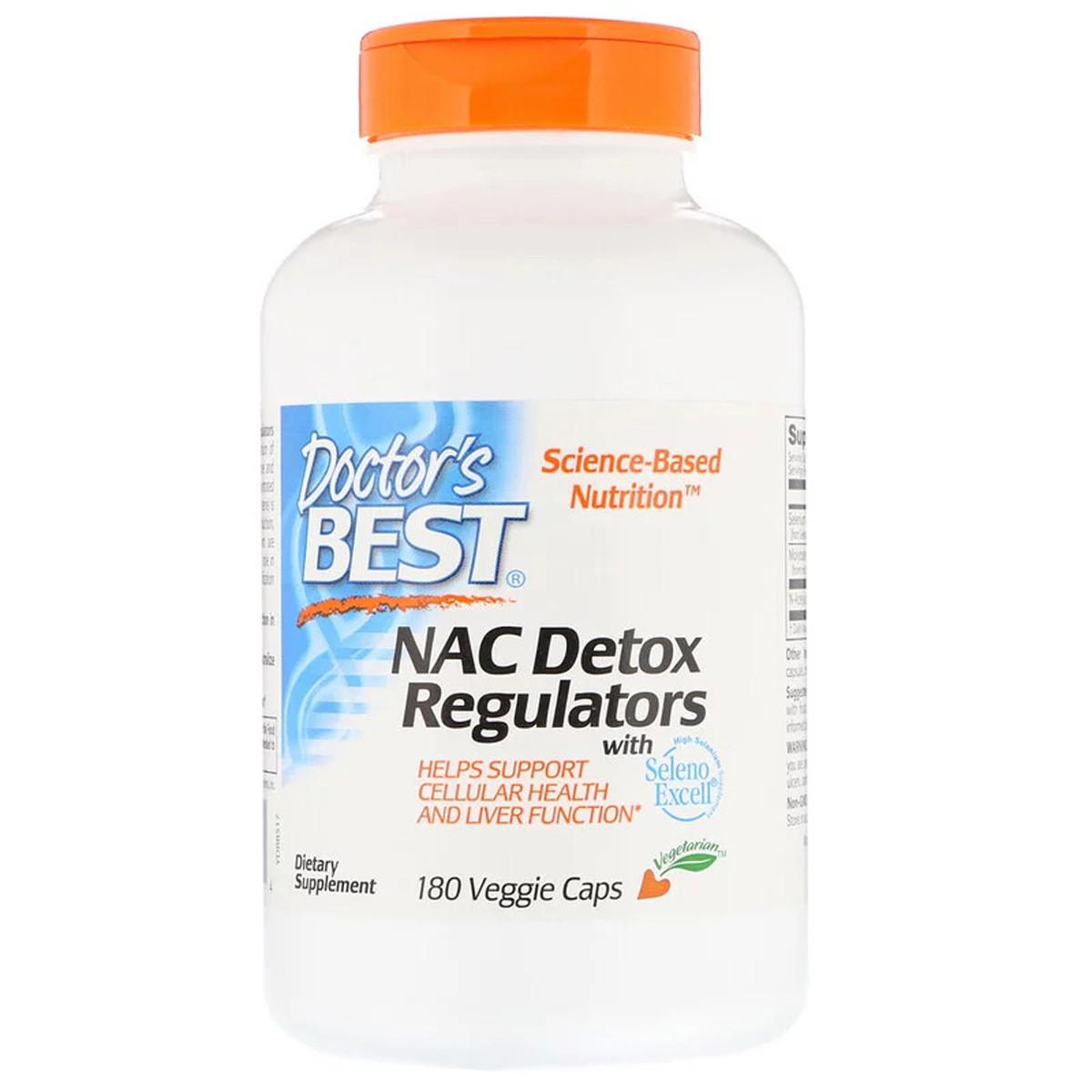 N-Ацетилцистеин, NAC Detox Regulators, Doctor's Best, 180 гелевых капсул