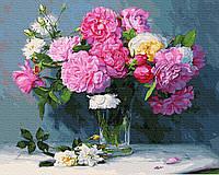 Картина по номерам Букет из розовых пионов GX30338 Rainbow Art 40 х 50 см (без коробки)