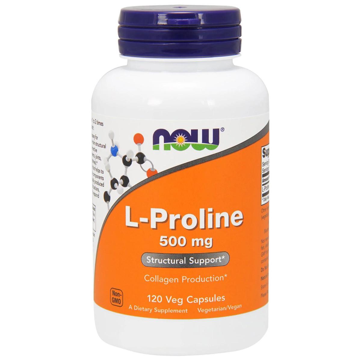 L-Пролин, 500 мг, Now Foods, L-Proline, 120 растительных капсул