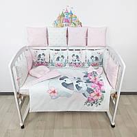 Комплект бортиков и постельного в кроватку с Енотиками и цветочками в нежно-розовых тонах, фото 1