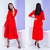 Льняное красное женское платье миди (3 цвета) SD/-446
