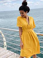 Легке літнє плаття з креп костюмки в універсальному розмірі, сідає навіть на L