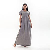 Длинное светло-серое летнее женское платье с коротким рукавом 8505 S