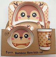 Посуда из бамбука для детей Олененок 5 предметов