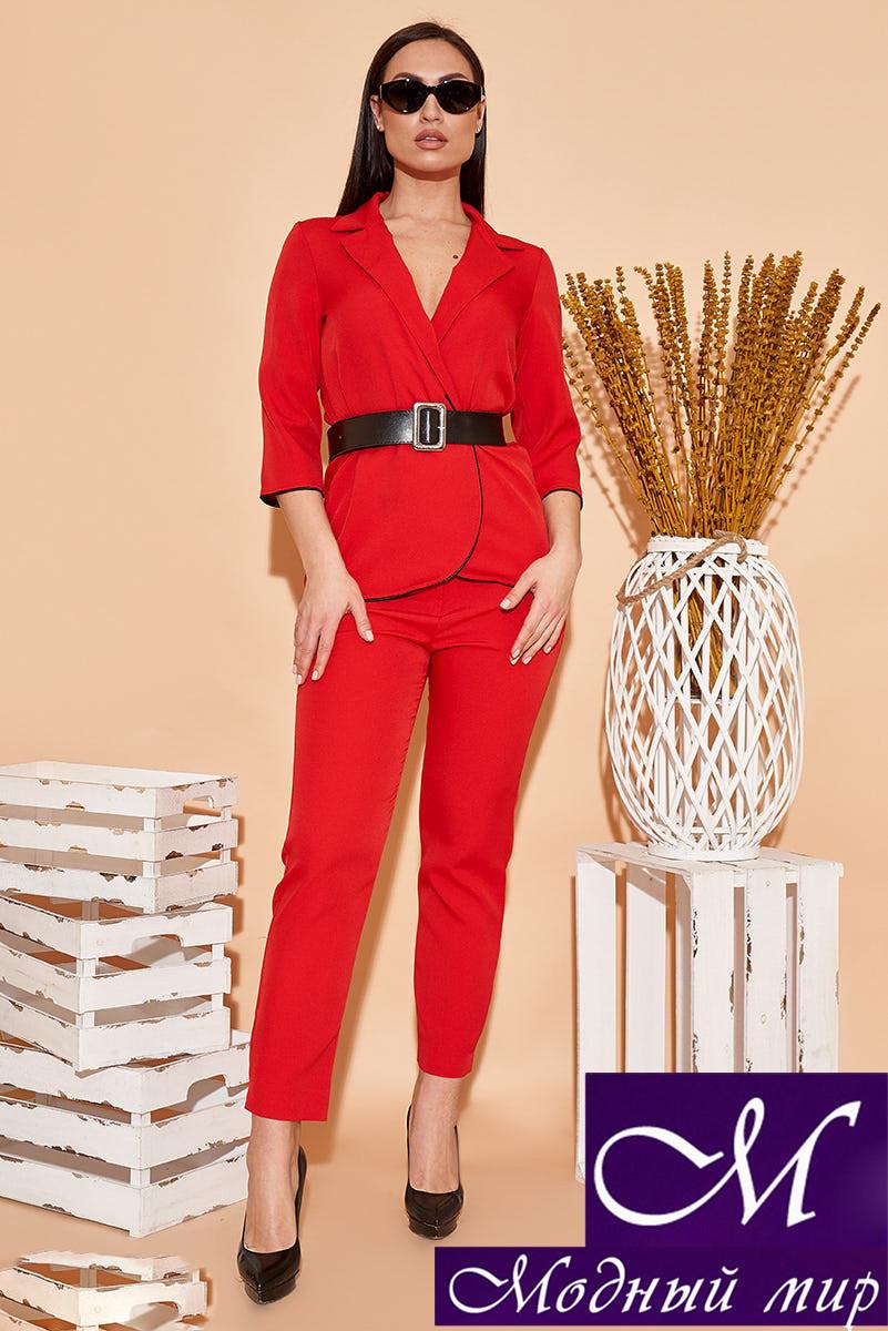 Женский красный костюм брюки + пиджак батал (р. 48, 50, 52, 54) арт. 34-499