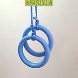 Кільця гімнастичні дитячі ДЕРЕВ'ЯНІ підвісні кільця для шведської стінки «ЕЛІТ», лазур, фото 5