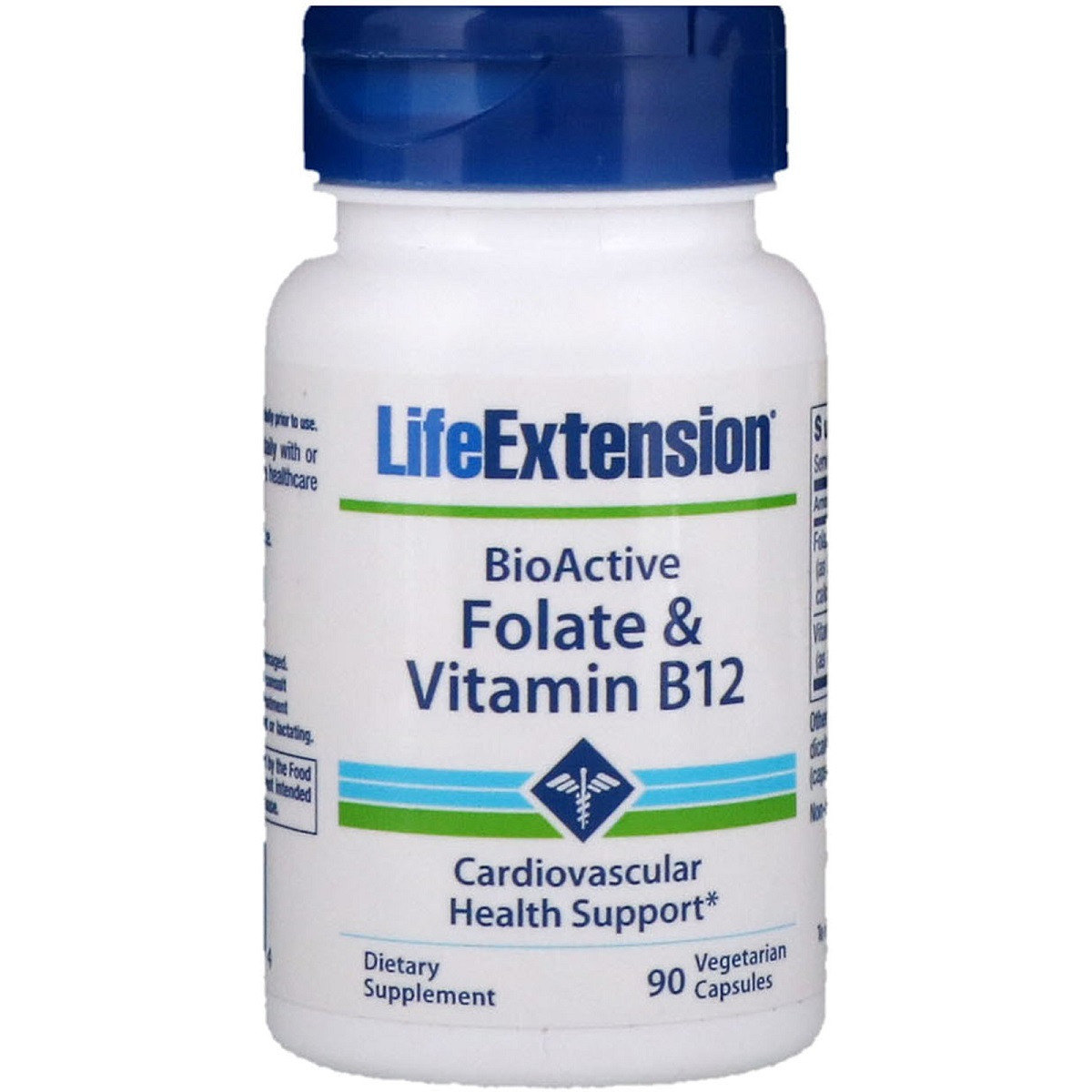 Фолат и B12, BioActive Folate & Vitamin B12, Life Extension, 90 Вегетарианских Капсул