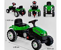 Детский карт педальный зеленый трактор pilson  велокарт веломобиль с педалями для мальчика и девочки