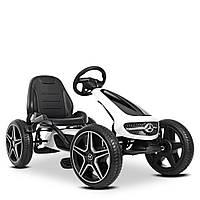 Детский карт педальный Mercedes-Benz M 4271E-1  велокарт веломобиль с педалями картинг колеса EVA белый