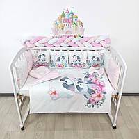 Комплект бортиков и постельного в кроватку с Енотиками и цветочками в нежно-розовых тонах на 4 стороны - 8 подушечек со съемными наволочками + косичка 120см