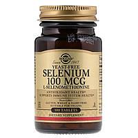 Селен без Дрожжей L-Селенометианин, 100 мкг, Solgar, 100 таблеток