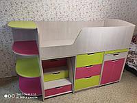 Детская кровать-чердак Малыш в 3 цветах + 4 полки, комод, выдвижной стол, кровать, ящик для игрушек