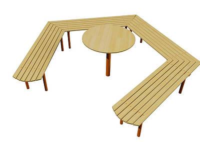 Скамейка Звезда со столиком Kidigo (VMVL012)