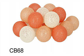 Гирлянда тайская декоративная LTL Sun Peace  Cotton Balls 20led, диам 6см, длина 330см на батарейках АА