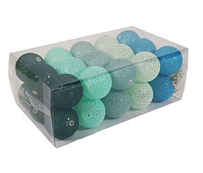 Гирлянда Тайские Шарики LTL Mint Cotton Balls 30led, диам 6см, длина 540см на батарейках АА