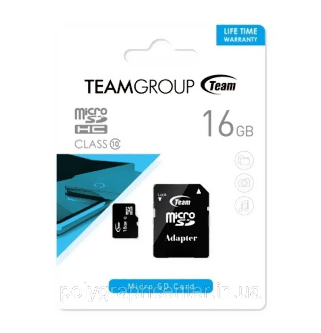 Карта памяти Team 16Gb microSDHC class 10 + adapter SD (TUSDH16GCL403)
