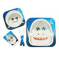 Столовый набор посуды из бамбука для детей Веселая акула 5 предметов