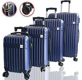 Чемоданы дорожные DMS с тележкой, комплект 4шт S-M-L-XL синий Blue