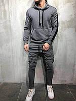 Спортивный костюм мужской осенний | демисезонный Кофта + Штаны c лампасами АСОС темно-серый