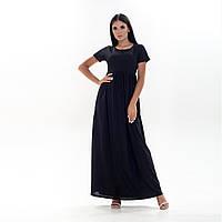 Длинное черное летнее женское платье с коротким рукавом 8505 XL