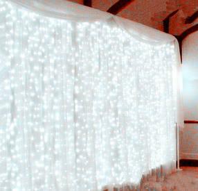 Гирлянда светодиодная штора водопад 3*3 м. с переходником