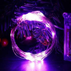 Светодиодная гирлянда нить проволка  на пульте дистанционного управления, на батарейках 10 м. Purple, фиолет