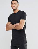 Мужская  стильная  удлиненная  футболка черная и графит, фото 1