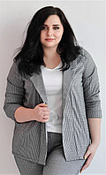 Женский пиджак трикотажный большого размера 3/4 рукав, расцветка  гусиная лапка Van Gils 1034, фото 1