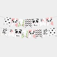 Гирлянда бумажная Панда розовая 14 флажков