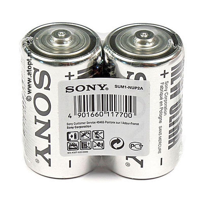 Батарейки солевая SONY R20(D) NEW ULTRA блистер - 2шт. коробка - 24шт.