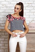 Укороченная клетчатая блуза с цветами (0818-0819 svt), фото 2