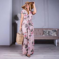 Длиное женское платье Алина цвет пудра с розами размер 46- 54