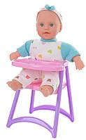 Пупс DEFA 5089 мягконабивной,24см,стульчик для кормления, в кор-ке,17-28-14см