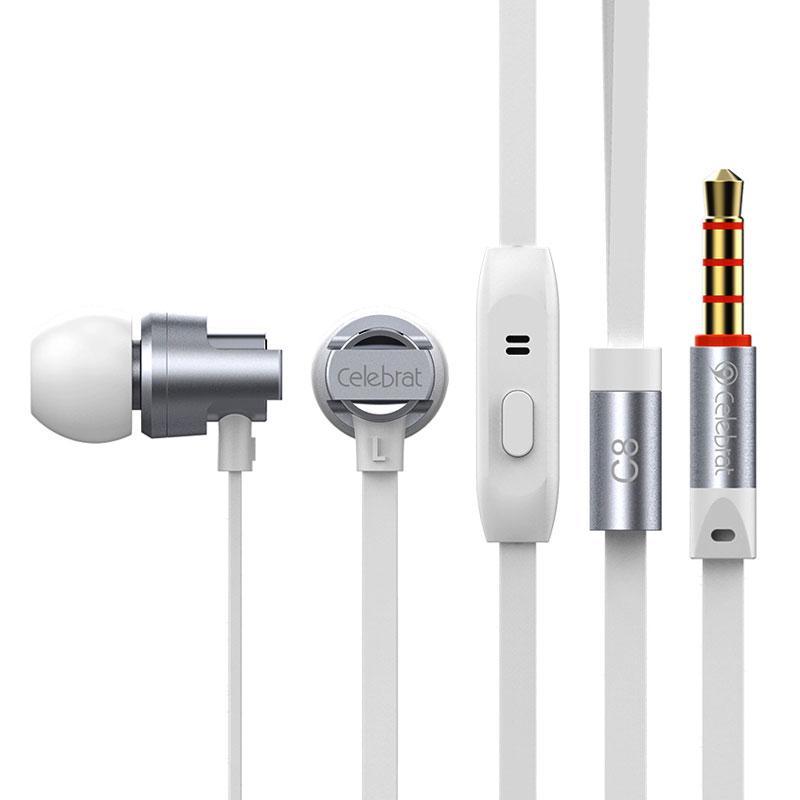 Наушники гарнитура проводные с микрофоном Celebrat C8 стерео вакуумные спортивные серые