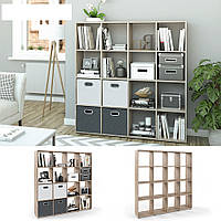 Удобный стеллаж для дома, перегородка, книжный шкаф из ДСП 16 отделений, Дуб сонома