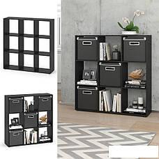 Удобный стеллаж для дома, перегородка, книжный шкаф из ДСП 16 отделений, Бетон, фото 3