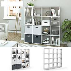 Удобный стеллаж для дома, перегородка, книжный шкаф из ДСП 16 отделений, Бетон, фото 2