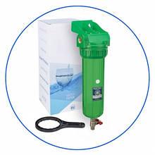 """Корпус фильтра 10"""" антибактериальный с лат. Резьбой 1/2"""" и спускным клапаном + ключ и кронштейн Aquafilter FHPR12-3V_R-AB"""