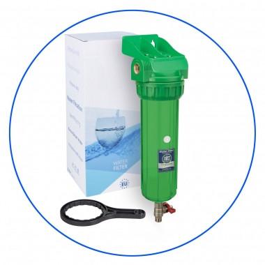 """Корпус фильтра 10"""" антибактериальный с лат. Резьбой 1"""" и спускным клапаном  + ключ и кронштейн Aquafilter FHPR1-3V_R-AB"""